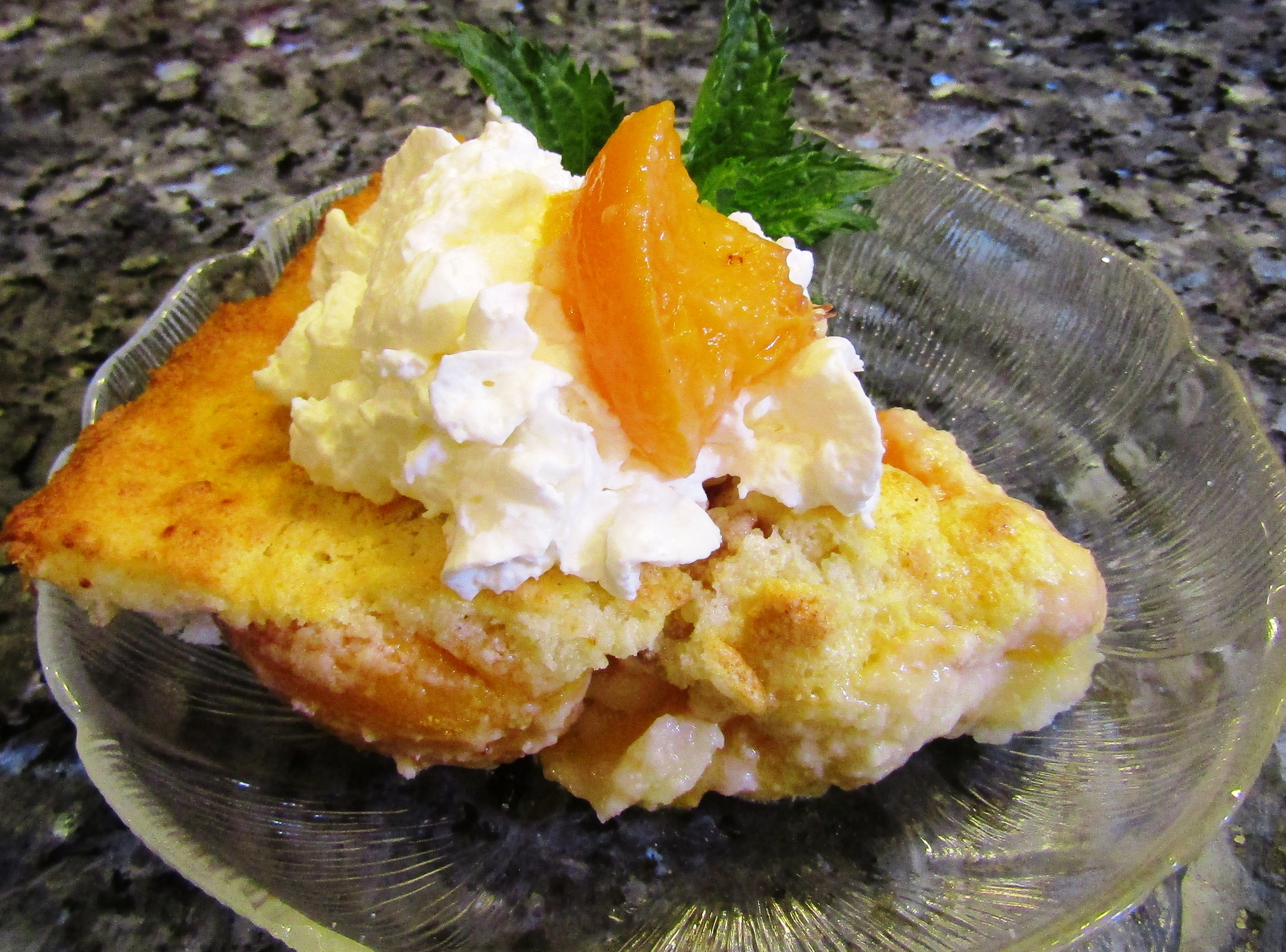 Peaches & Cream Custard Cake Recipe
