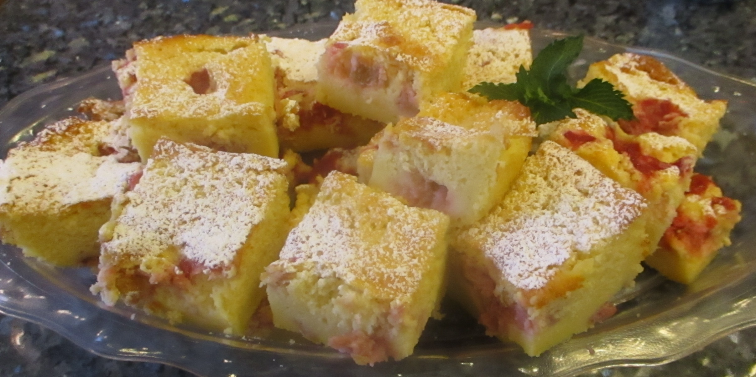 Roasted Rhubarb Magic Custard Cake Recipe